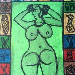 front & back of a women, 22 x 28 inch, tanuj swarnakar,figurative paintings,paintings for bedroom,thick paper,pastel color,22x28inch,GAL024566637