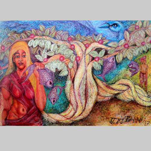 woman and the nature , 35 x 24 inch, jayabalan dhamodaran,figurative paintings,paintings for living room,canvas,oil,35x24inch,GAL018296640