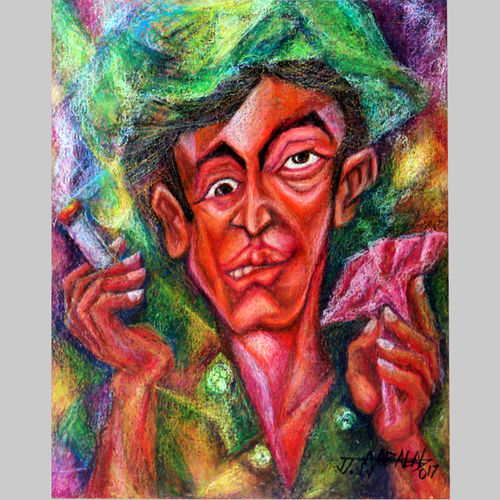smoke and smell, 16 x 20 inch, jayabalan dhamodaran,portrait paintings,paintings for living room,canvas board,pastel color,16x20inch,GAL018296643