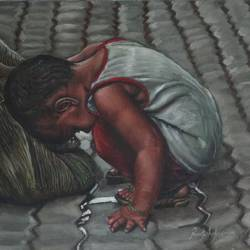 child playing with a sack bag, 20 x 16 inch, ramya sadasivam,realism paintings,paintings for living room,paintings,photorealism paintings,photorealism,realistic paintings,paintings for dining room,paintings for bedroom,paintings for office,paintings for bathroom,paintings for kids room,paintings for hotel,paintings for kitchen,paintings for school,paintings for hospital,canvas,oil,20x16inch,GAL0327665