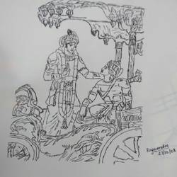 geethaupadhesam, 8 x 8 inch, ragavendra maharajan,fine art drawings,paintings for office,ohp plastic sheets,pen color,8x8inch,GAL025026653