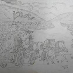 guruchethram war, 8 x 11 inch, ragavendra maharajan,fine art drawings,paintings for living room,paper,pencil color,8x11inch,GAL025026657