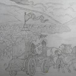 guruchethram war, 8 x 11 inch, ragavendra maharajan,fine art drawings,paintings for living room,paper,pencil color,8x11inch,GAL025026658