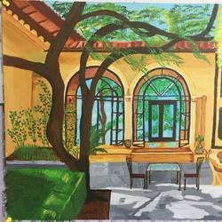 cool summer patio, 20 x 16 inch, kanika kalra,landscape paintings,paintings for living room,canvas,acrylic color,20x16inch,GAL025576671