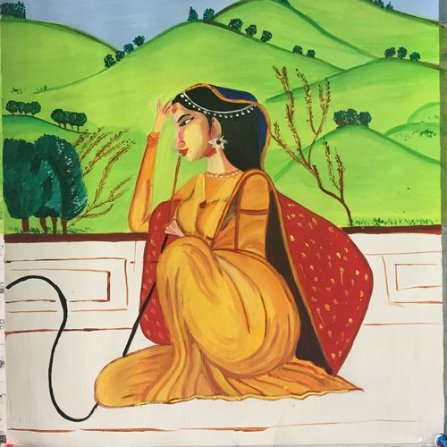 awaiting, 12 x 16 inch, kanika kalra,figurative paintings,paintings for bedroom,thick paper,acrylic color,12x16inch,GAL025576673