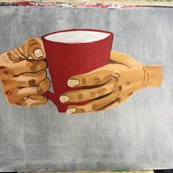 coffee, 20 x 16 inch, kanika kalra,abstract paintings,paintings for dining room,canvas,acrylic color,20x16inch,GAL025576675