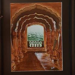 arches balcony, 12 x 16 inch, sanmati balaji,art deco paintings,paintings for living room,canvas,acrylic color,12x16inch,GAL024586683