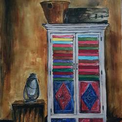 wardrobe with colours, 12 x 16 inch, sanmati balaji,still life paintings,paintings for dining room,canvas,acrylic color,12x16inch,GAL024586684
