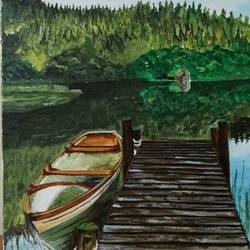 bridge & boat, 16 x 12 inch, sanmati balaji,landscape paintings,paintings for office,canvas,acrylic color,16x12inch,GAL024586687