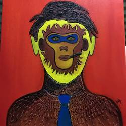 monkey man, 22 x 26 inch, vidhi  radhanpura,conceptual paintings,paintings for office,canvas,mixed media,22x26inch,GAL025616691