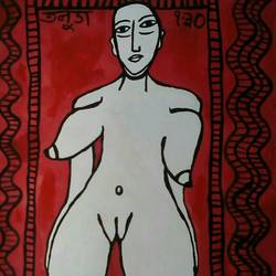 lady nude, 22 x 28 inch, tanuj swarnakar,figurative paintings,paintings for bedroom,thick paper,poster color,22x28inch,GAL024566698