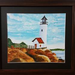 lighthouse, 12 x 10 inch, sanmati balaji,landscape paintings,paintings for living room,canvas,acrylic color,12x10inch,GAL024586711