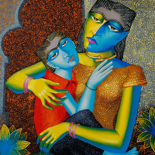 mother and child, 30 x 40 inch, dayanand kamakar,figurative paintings,paintings for living room,canvas,mixed media,30x40inch,GAL025756712