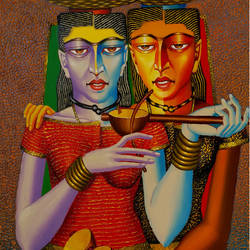 violin sellers, 24 x 30 inch, dayanand kamakar,figurative paintings,paintings for living room,canvas,mixed media,24x30inch,GAL025756719