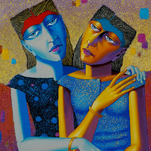 friends , 24 x 30 inch, dayanand kamakar,figurative paintings,paintings for living room,canvas,mixed media,24x30inch,GAL025756723
