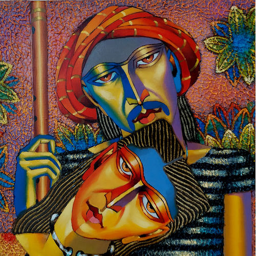 couple art, 18 x 24 inch, dayanand kamakar,figurative paintings,paintings for living room,canvas,mixed media,18x24inch,GAL025756724