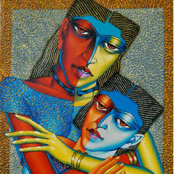 mother and child, 18 x 24 inch, dayanand kamakar,figurative paintings,paintings for living room,canvas,mixed media,18x24inch,GAL025756727