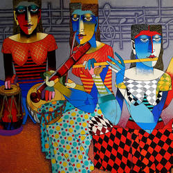 musicians, 48 x 72 inch, dayanand kamakar,figurative paintings,paintings for living room,paintings for dining room,paintings for bedroom,paintings for office,paintings for hotel,canvas,mixed media,48x72inch,GAL025756729