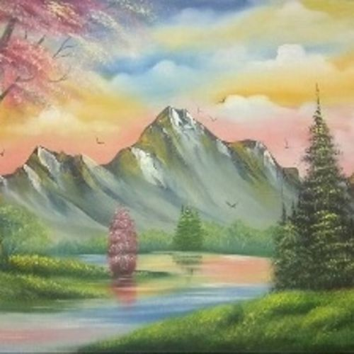 nature in spring session , 30 x 20 inch, komal savaliya,landscape paintings,paintings for living room,canvas,oil,30x20inch,GAL025906741