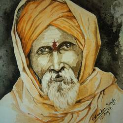sadhu, 18 x 23 inch, satender singh,portrait paintings,paintings for living room,renaissance watercolor paper,watercolor,18x23inch,GAL025896744