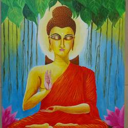 lord buddha, 20 x 24 inch, rajyasree pal,paintings,figurative paintings,canvas,acrylic color,20x24inch,GAL024606747