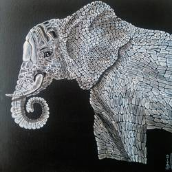 elephant 1 i'm not alone, 12 x 12 inch, dipali deshpande,modern art paintings,paintings for living room,canvas,acrylic color,12x12inch,GAL01636748