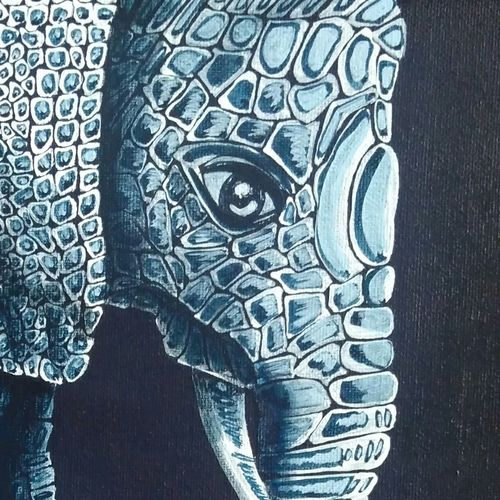 elephant 2 motherhood, 12 x 12 inch, dipali deshpande,modern art paintings,paintings for living room,canvas,acrylic color,12x12inch,GAL01636749