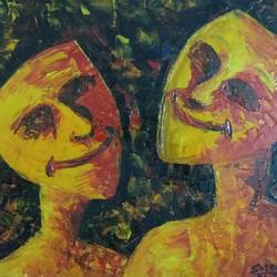 smiling together, 16 x 12 inch, satender singh,abstract expressionist paintings,paintings for office,canvas board,oil,16x12inch,GAL025896751