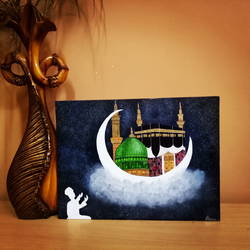 islam, 12 x 16 inch, shama harsolia,paintings,religious paintings,paintings for living room,canvas board,oil,12x16inch,GAL023026756
