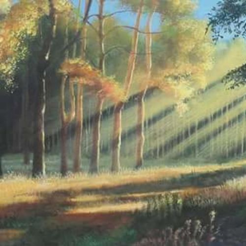 landscape, 20 x 11 inch, bineesh sebstian,landscape paintings,paintings for living room,canvas board,acrylic color,20x11inch,GAL025986758