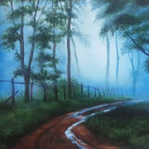 landscape, 18 x 14 inch, bineesh sebstian,landscape paintings,paintings for living room,canvas board,acrylic color,18x14inch,GAL025986759