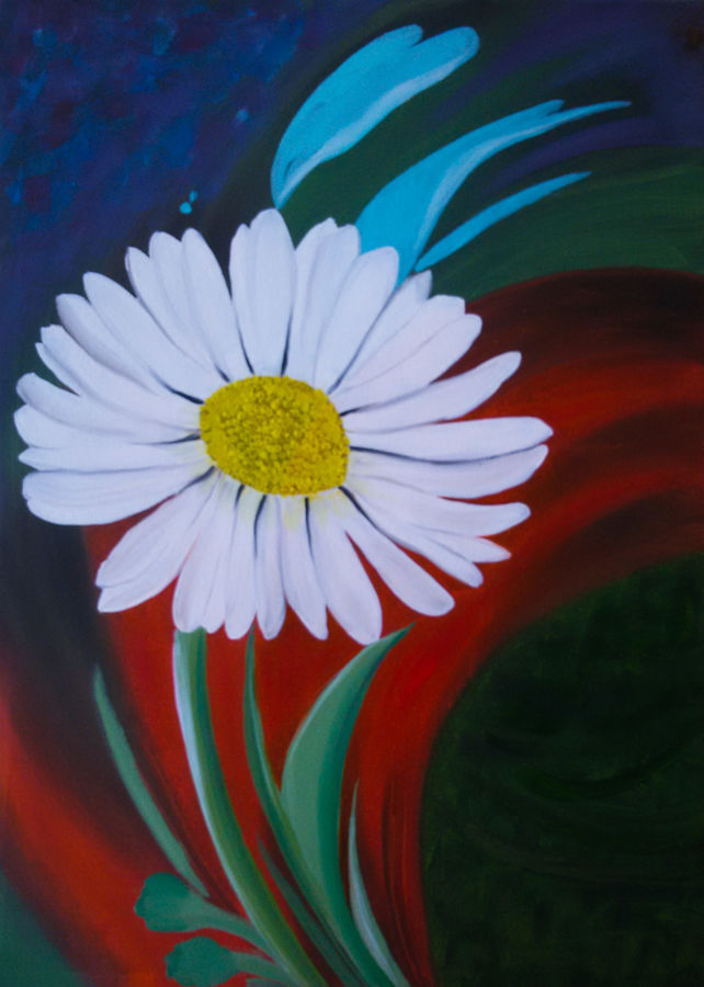 smiling daisy, 18 x 24 inch, pankaj tunwal,flower paintings,paintings for office,canvas,oil,18x24inch,GAL0276676
