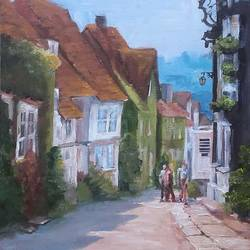 houses, 14 x 18 inch, bineesh sebstian,cityscape paintings,paintings for living room,canvas board,acrylic color,14x18inch,GAL025986760