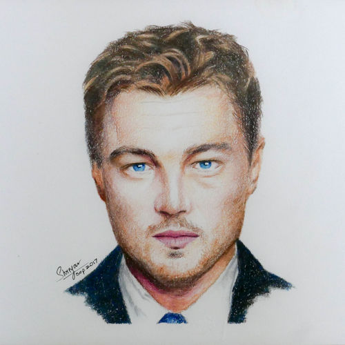 leonardo dicaprio, 11 x 8 inch, shreyas pailkar,portrait drawings,paintings for living room,paper,pencil color,11x8inch,GAL026026764