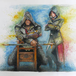 assassin's creed syndicate, 16 x 11 inch, shreyas pailkar,figurative paintings,paintings for living room,brustro watercolor paper,watercolor,16x11inch,GAL026026765