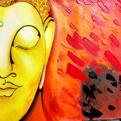 enlightening buddha, 16 x 12 inch, seema agrawal,buddha paintings,paintings for office,canvas,acrylic color,16x12inch,religious,peace,meditation,meditating,gautam,goutam,buddha,orange,yellow,side face,smiling,praying,GAL018596766