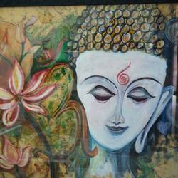 meditating buddha, 32 x 24 inch, sumita srivastava,buddha paintings,paintings for living room,thick paper,acrylic color,32x24inch,religious,peace,meditation,meditating,gautam,goutam,buddha,face,blue,lotus,flowers,GAL026116775