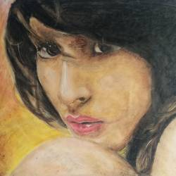 a girl, 22 x 13 inch, atul bharmoria,portrait paintings,paintings for living room,rice paper,pastel color,22x13inch,GAL0335678