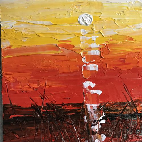 mesmerising sunset, 12 x 10 inch, manpreet kaur,paintings,abstract paintings,paintings for living room,canvas,acrylic color,12x10inch,GAL04346784
