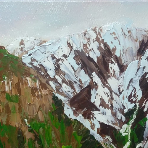 somewhere in himalayas 2, 12 x 12 inch, dipali deshpande,nature paintings,paintings for living room,canvas,oil,12x12inch,GAL01636787Nature,environment,Beauty,scenery,greenery
