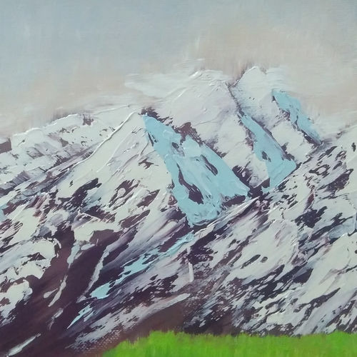 somewhere in himalayas 1, 12 x 12 inch, dipali deshpande,nature paintings,paintings for living room,canvas,oil,12x12inch,GAL01636788Nature,environment,Beauty,scenery,greenery