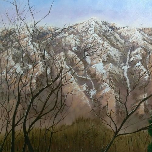 snow mountain view manali himalayas, 48 x 36 inch, dipali deshpande,nature paintings,paintings for living room,canvas,oil,48x36inch,GAL01636789Nature,environment,Beauty,scenery,greenery