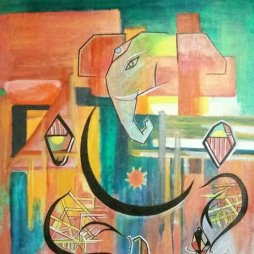 ganapathi, 30 x 24 inch, guru charan,abstract paintings,paintings for living room,canvas,acrylic color,30x24inch,GAL0237679
