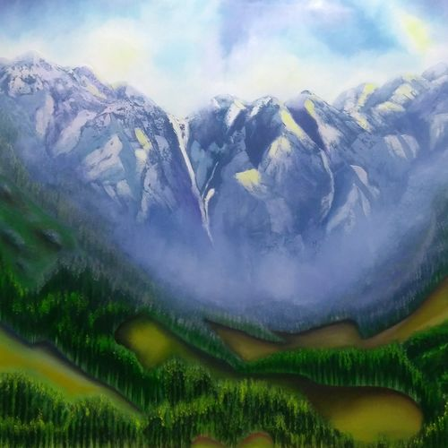 the valley view himalayas, 48 x 36 inch, dipali deshpande,nature paintings,paintings for living room,canvas,oil,48x36inch,GAL01636790Nature,environment,Beauty,scenery,greenery