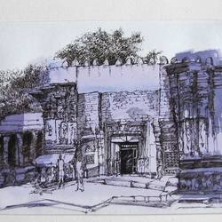 black ink sketch old house at pune, 16 x 13 inch, sagar nanivadekar,fine art drawings,paintings for living room,paper,ink color,16x13inch,GAL026196791