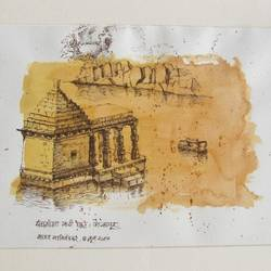 old temple, 16 x 12 inch, sagar nanivadekar,landscape paintings,paintings for living room,handmade paper,pen color,16x12inch,GAL026196792