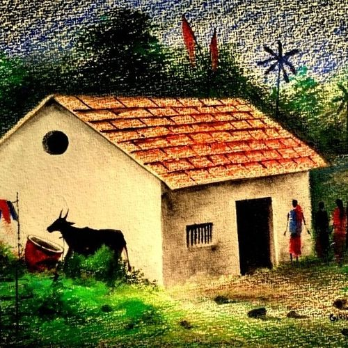 house in nature , 14 x 11 inch, girish chandra vidyaratna,landscape paintings,paintings for living room,renaissance watercolor paper,mixed media,14x11inch,GAL03668