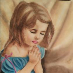 a praying girl, 17 x 25 inch, atul bharmoria,portrait paintings,paintings for living room,rice paper,pastel color,17x25inch,GAL0335680