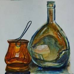 still, 15 x 11 inch, mardvi patel,still life paintings,paintings for dining room,fabriano sheet,watercolor,15x11inch,GAL025816802