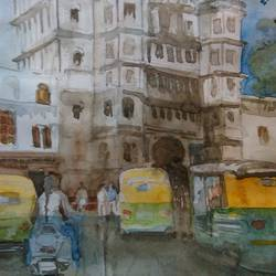 rajwada, 8 x 9 inch, nitin ghule,cityscape paintings,paintings for office,thick paper,watercolor,8x9inch,GAL026356806